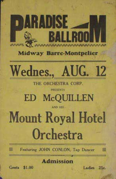 Ed McQuillen and His Orchestra Original Vintage Advertising Poster Paradise Ballroom