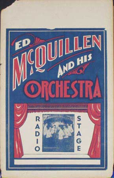 Ed McQuillen and His Orchestra Original Vintage Advertising Poster Radio Stage