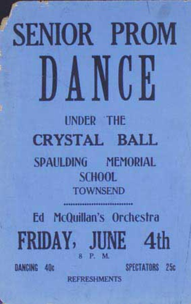 Ed McQuillen and His Orchestra Original Vintage Advertising Poster Senior Prom Dance