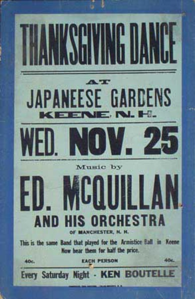 Ed McQuillen and His Orchestra Original Vintage Advertising Poster Thanksgiving