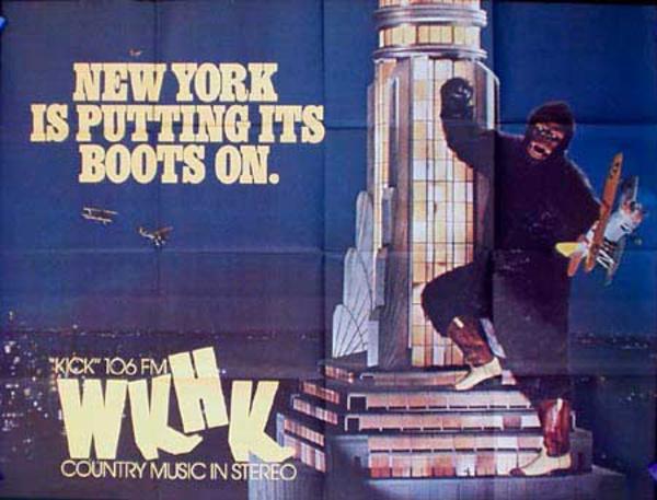 WKHK Radio Station Original Vintage Advertising Poster King Kong on Empire State Building