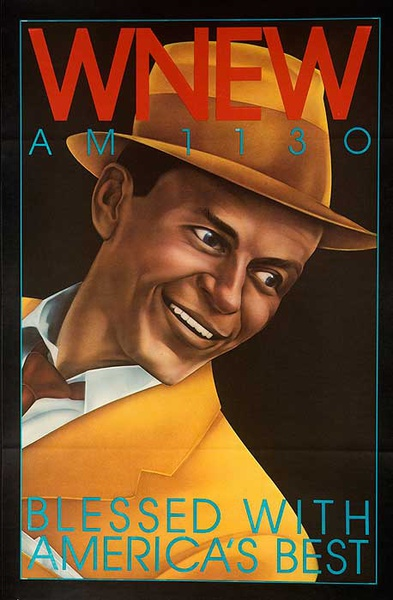 WNEW Frank Sinatra Original Vintage Advertising Poster