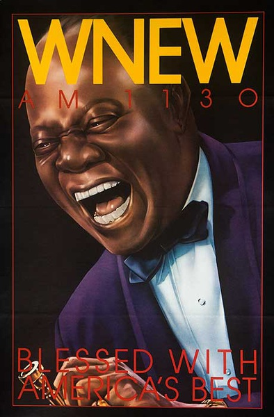 WNEW Louis Armstrong Original Vintage Advertising Poster