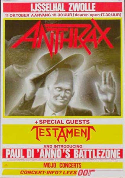 Anthrax Original Rock and Roll Show Poster Special Guest Testament