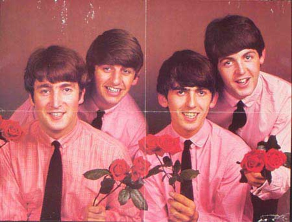 YOUNG Beatles Fab Four Poster roses