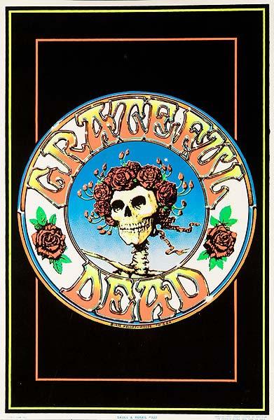 Skull and Roses Original Grateful Dead lack Velvet Poster
