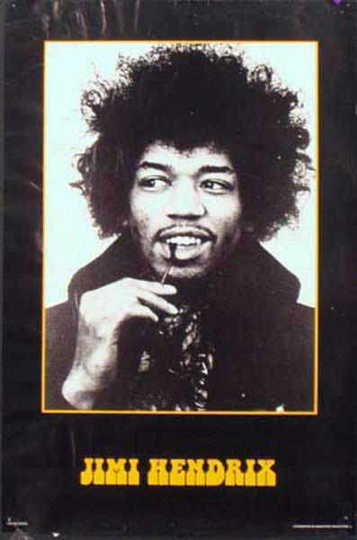 Jimi Hendrix Original Rock and Roll Poster bw photo