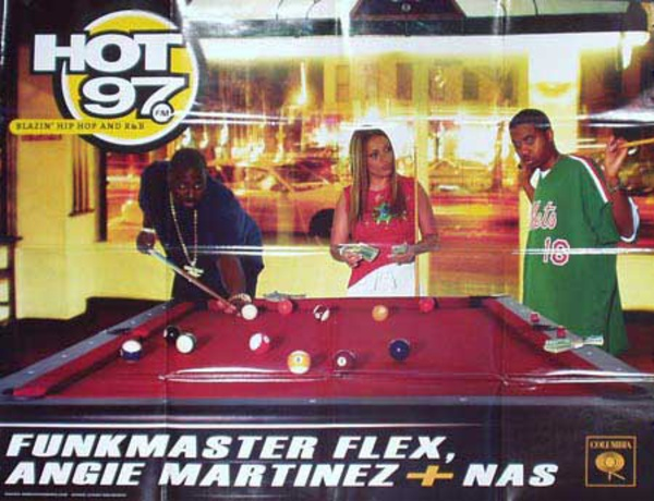 Hot 97 Radio Station Original Vintage Advertising Poster Funkmaster Flex, Angie Martinez and Naz