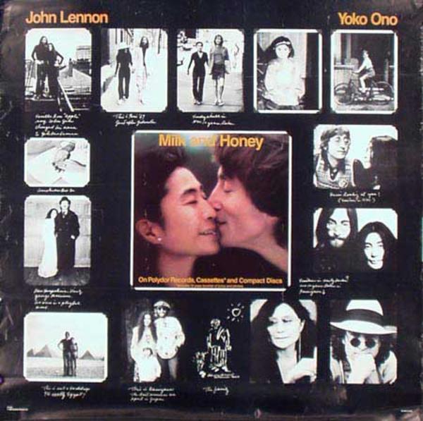John Lennon Yoko Ono Original Rock and Roll Poster Milk And Honey