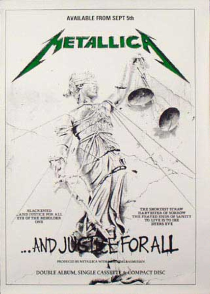 Metallica Original Rock and Roll Poster And Justice For All