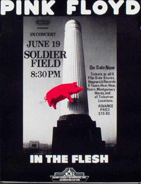 Pink Floyd Original Rock and Roll Poster In The Flesh Concert Poster Soldier Field
