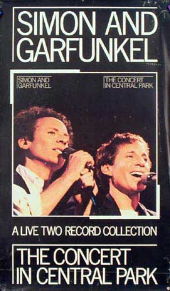 Simon And Garfunkle Original Rock and Roll Concert Poster Central Park Live Two Record Collection