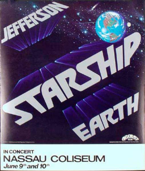 Jefferson Starship Original Rock and Roll Concert Poster Nassau Coliseum Jan 9-10