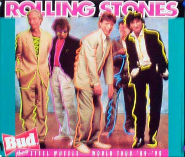 Rolling Stones Original Rock and Roll Poster Steel Wheel Tour bud sm