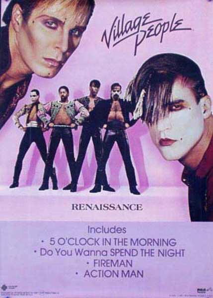 Village People Renaissance Original Vintage Rock and Roll Disco Poster
