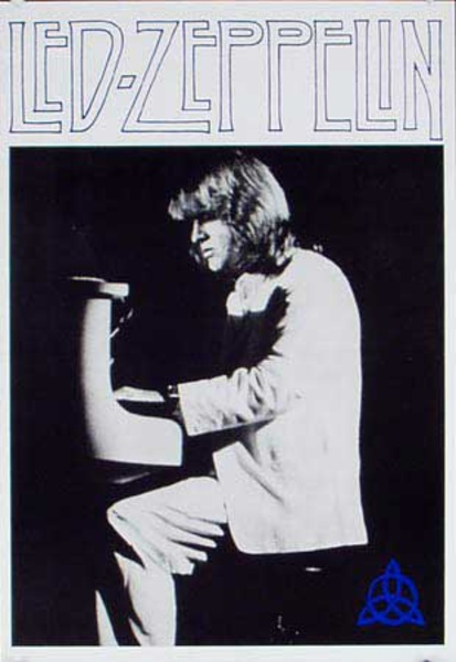 Led Zepppelin BW Piano Original Vintage Rock and Roll Poster