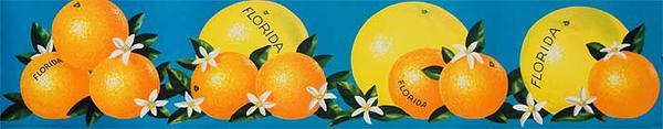 Florida Oranges and Graperfruits  Original American Advertising Poster blue