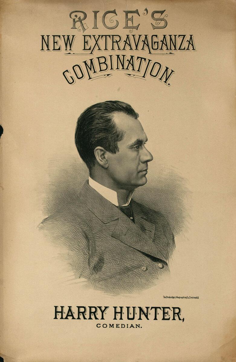 Original Vintage 19th Century Theatre Poster Harry Hunter Comedian