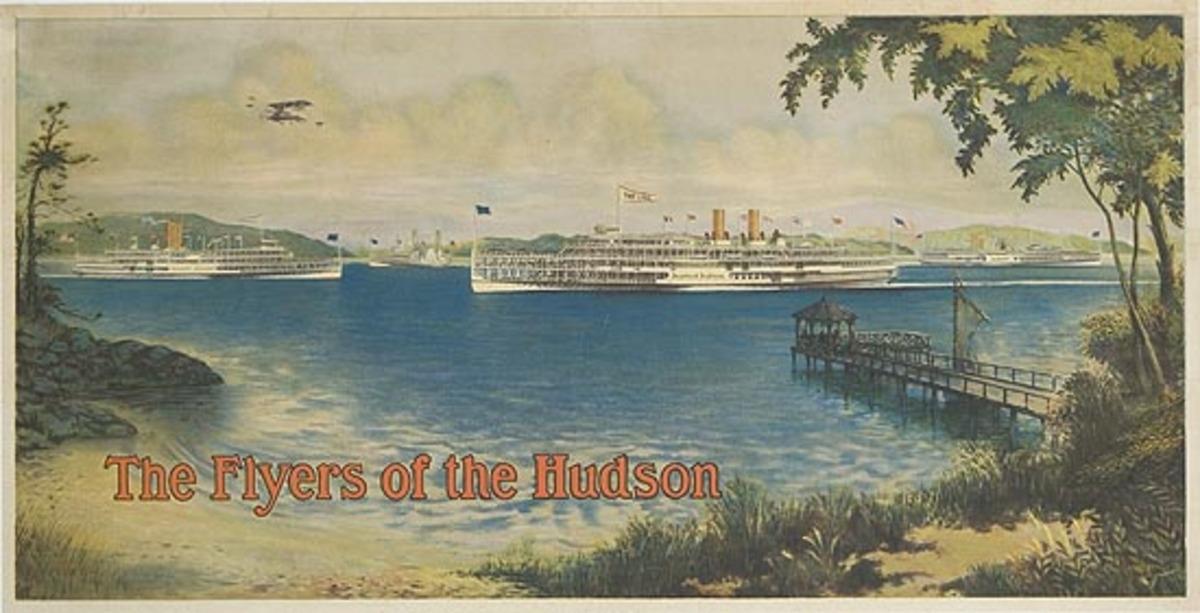 Flyers of the Hudson Original Hudson River Day Lines Travel Poster