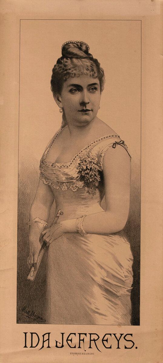 Original Vintage 19th Century Theatre Poster Ida Jefreys