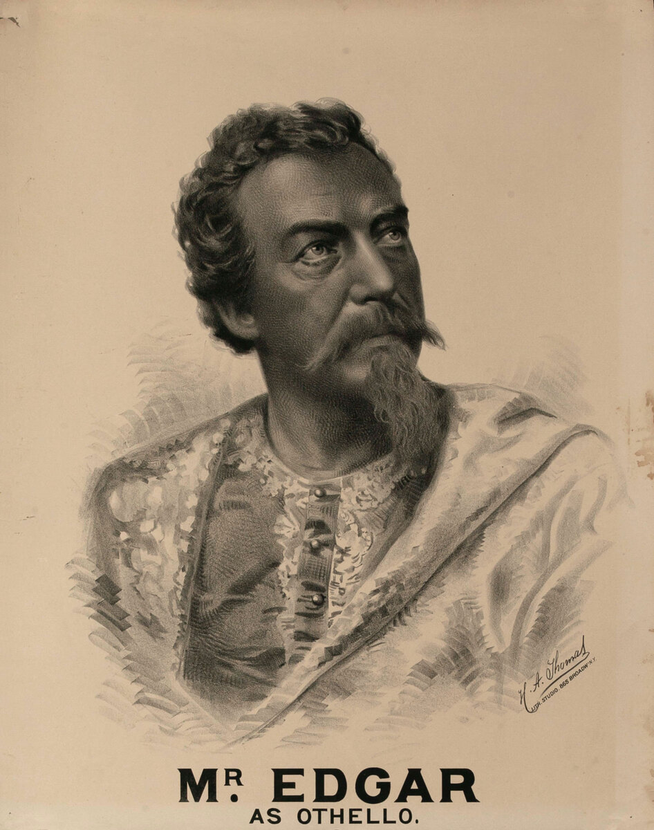 Original Vintage 19th Century Theatre Poster Mr. Edgar as Othello