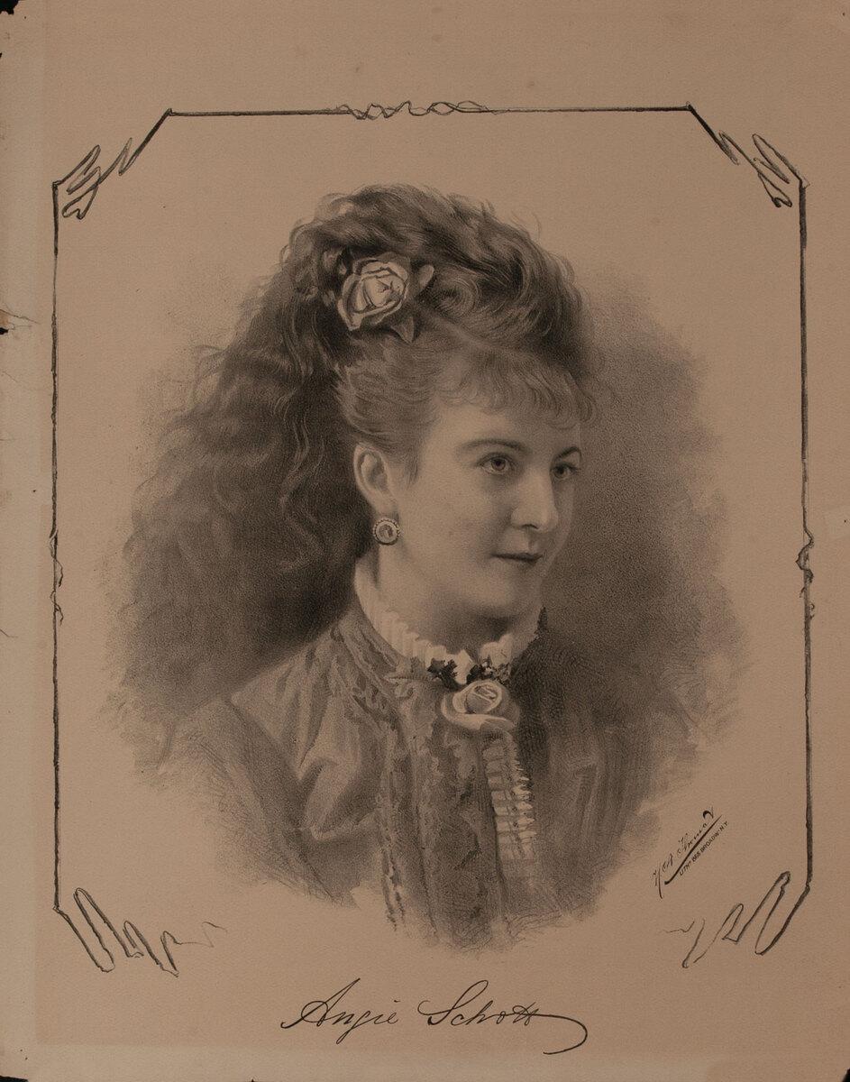 Original Vintage 19th Century Theatre Poster Angia Schott