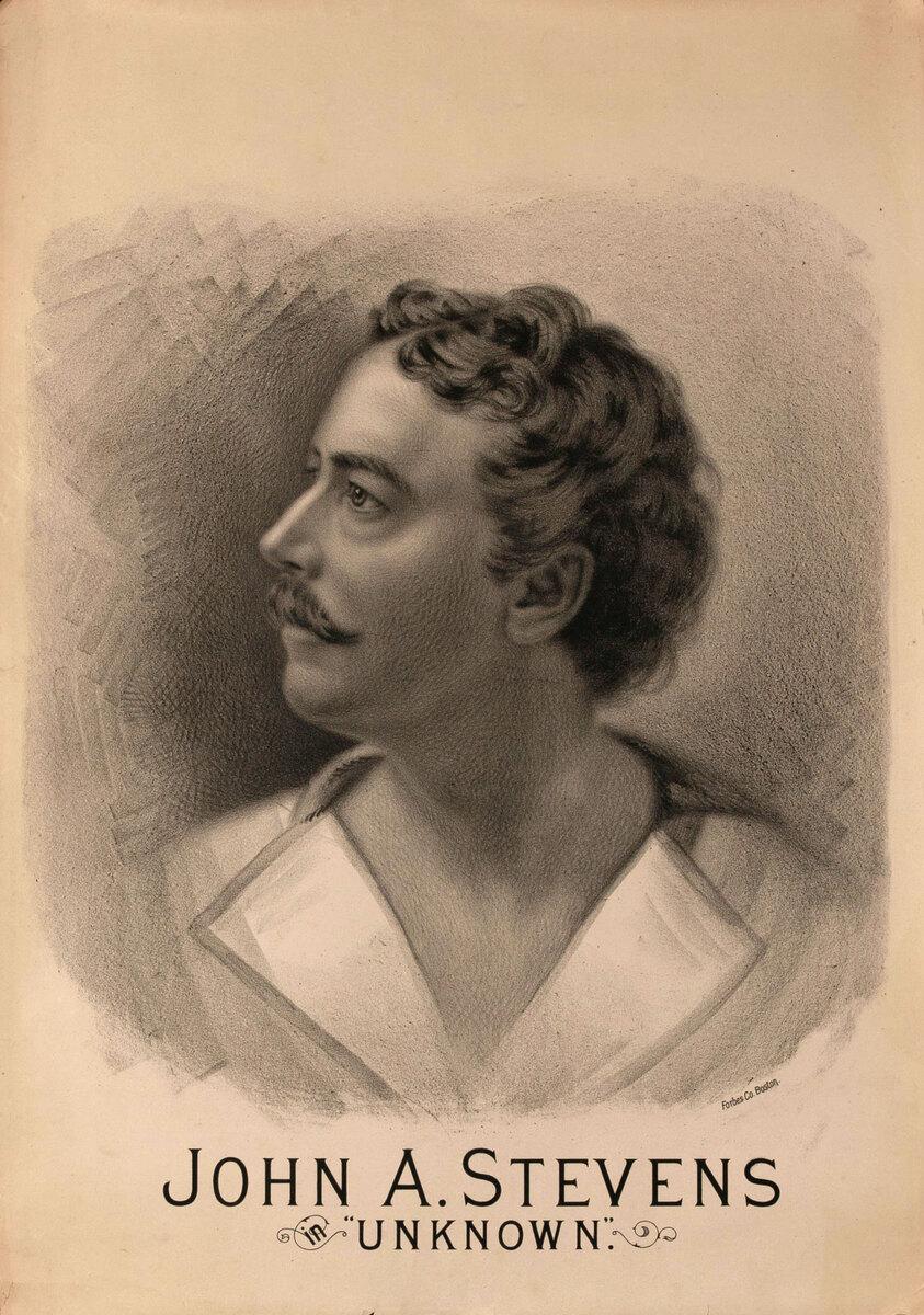 Original Vintage 19th Century Theatre Poster John A. Stevens Unknown