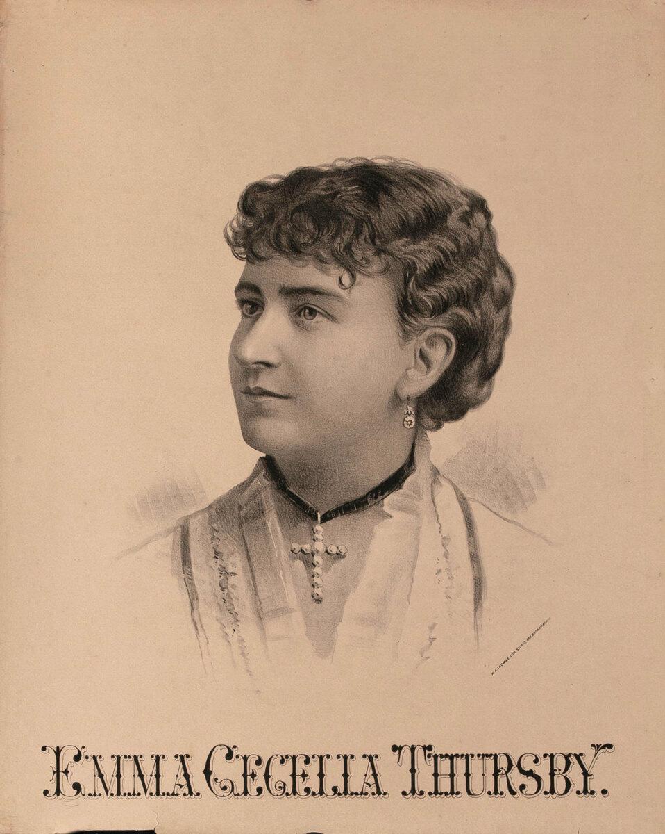 Original Vintage 19th Century Theatre Poster Emma Cecelia Thursby