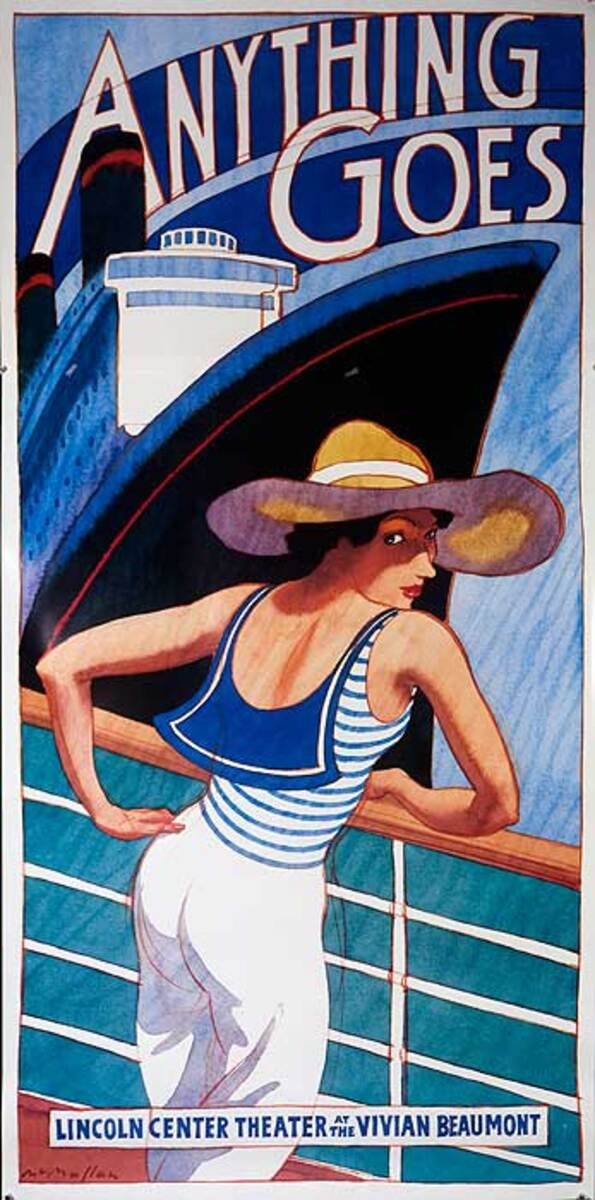 Anything Goes Original Broadway Theatre Poster Woman Looking over shoulder