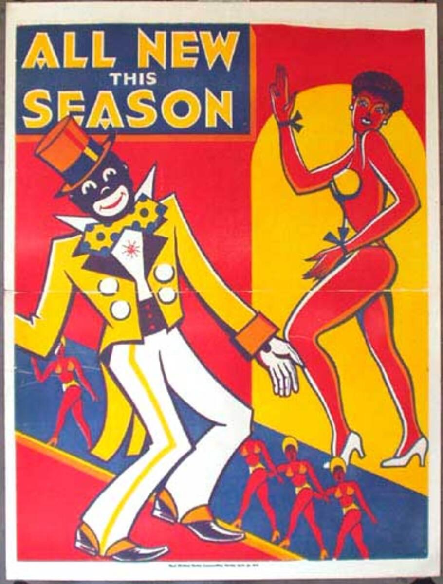 Original Vintage Minstrel Show Poster All New This Season