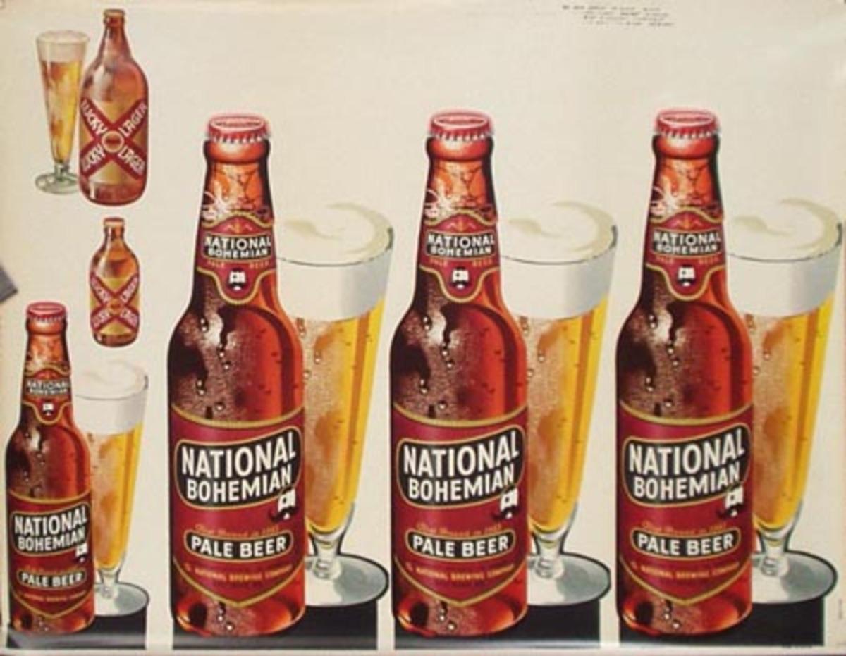 Original Vintage Bohemian Beer Advertising Poster