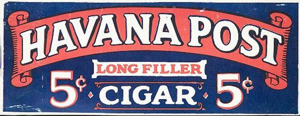 Havana Post Cigar Original Advertising Poster Nickel Cigar Long Filler