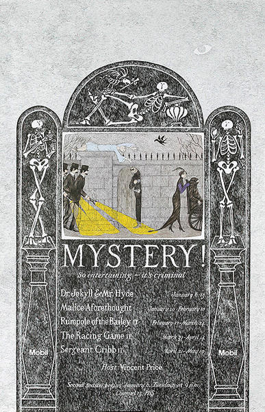 Gorey Mystery Theatre Original Vintage Poster Mobil Masterpiece Theatre