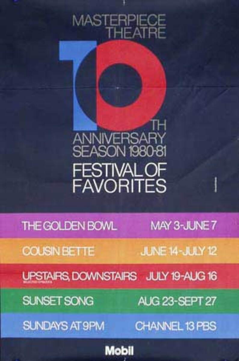 10th Anniversary Mobil Masterpiece Theatre Original Vintage Public Television Advertising Poster