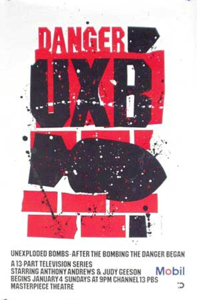 Danger UXB Mobil Masterpiece Theatre Original Vintage Public Television Advertising Poster