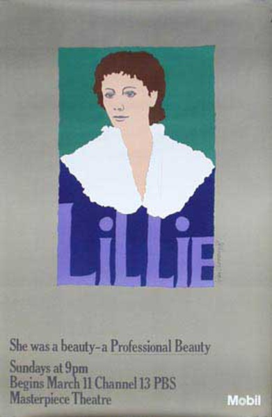 Lillie Mobil Masterpiece Theatre Original Vintage Public Television Advertising Poster