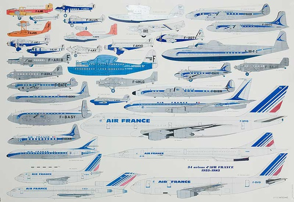 Air France Original Travel Poster Aircraft History
