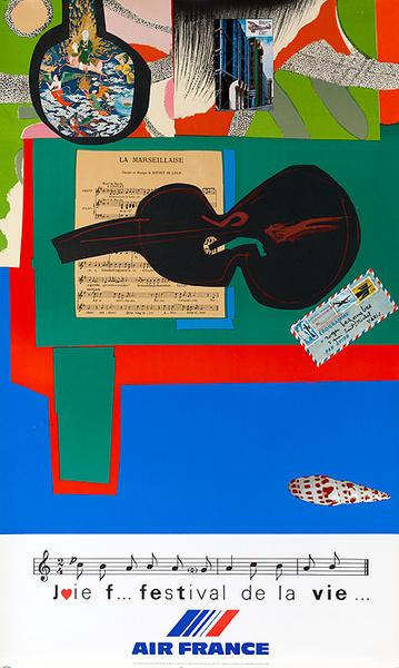 Air France Festival of Life Original Travel Poster (Mourlot)