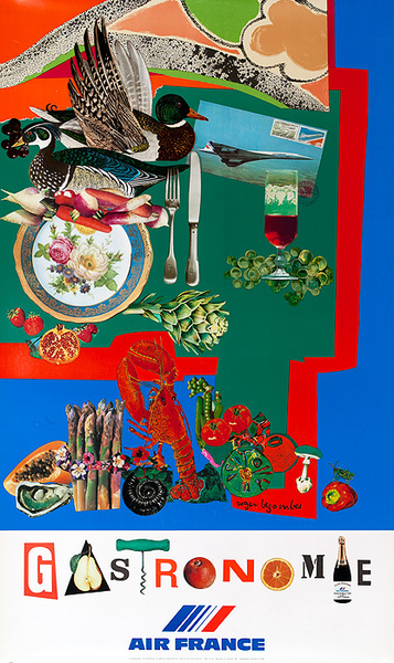 Air France Gastronomie Original Travel Poster (Mourlot)