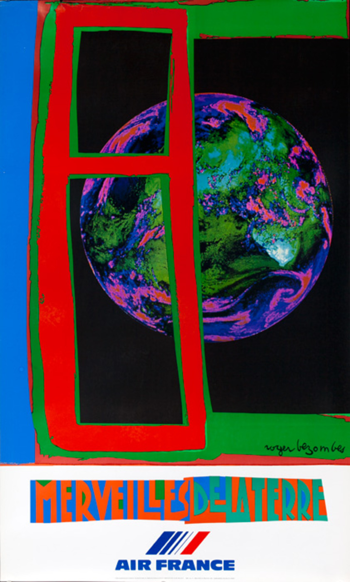 Air France Marvelous Earth Original Travel Poster (Mourlot)