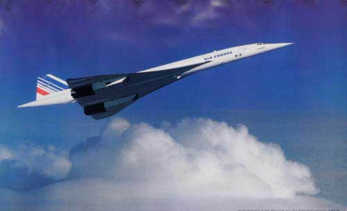 Air France Original Travel Poster Concorde in Flight Horizontal