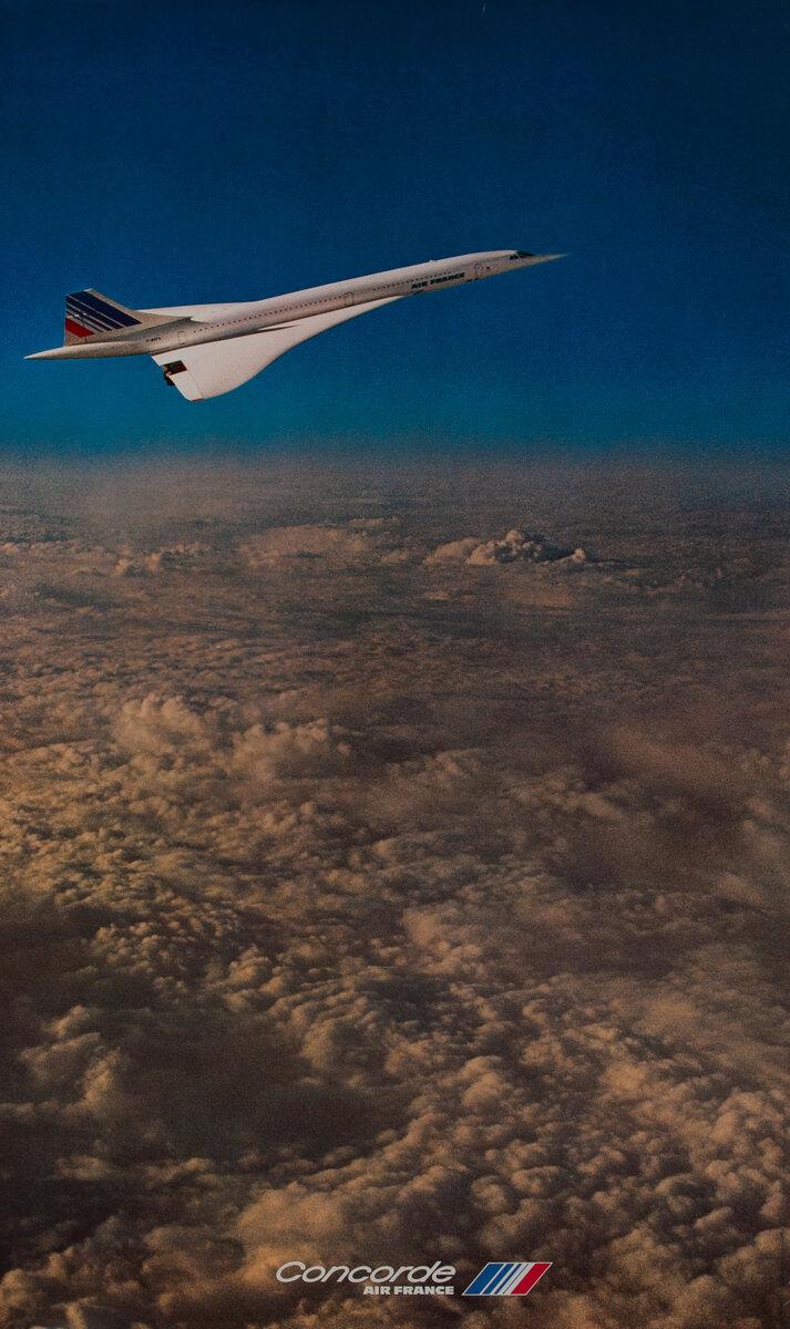 Air France Original Travel Poster Concorde in Flight Vertical