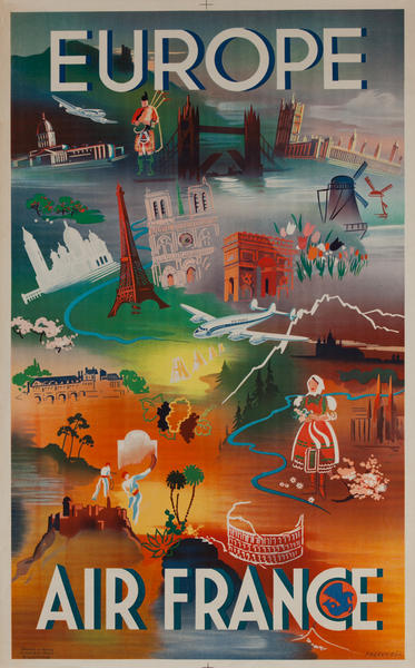 Air France Europe Icons Original Travel Poster
