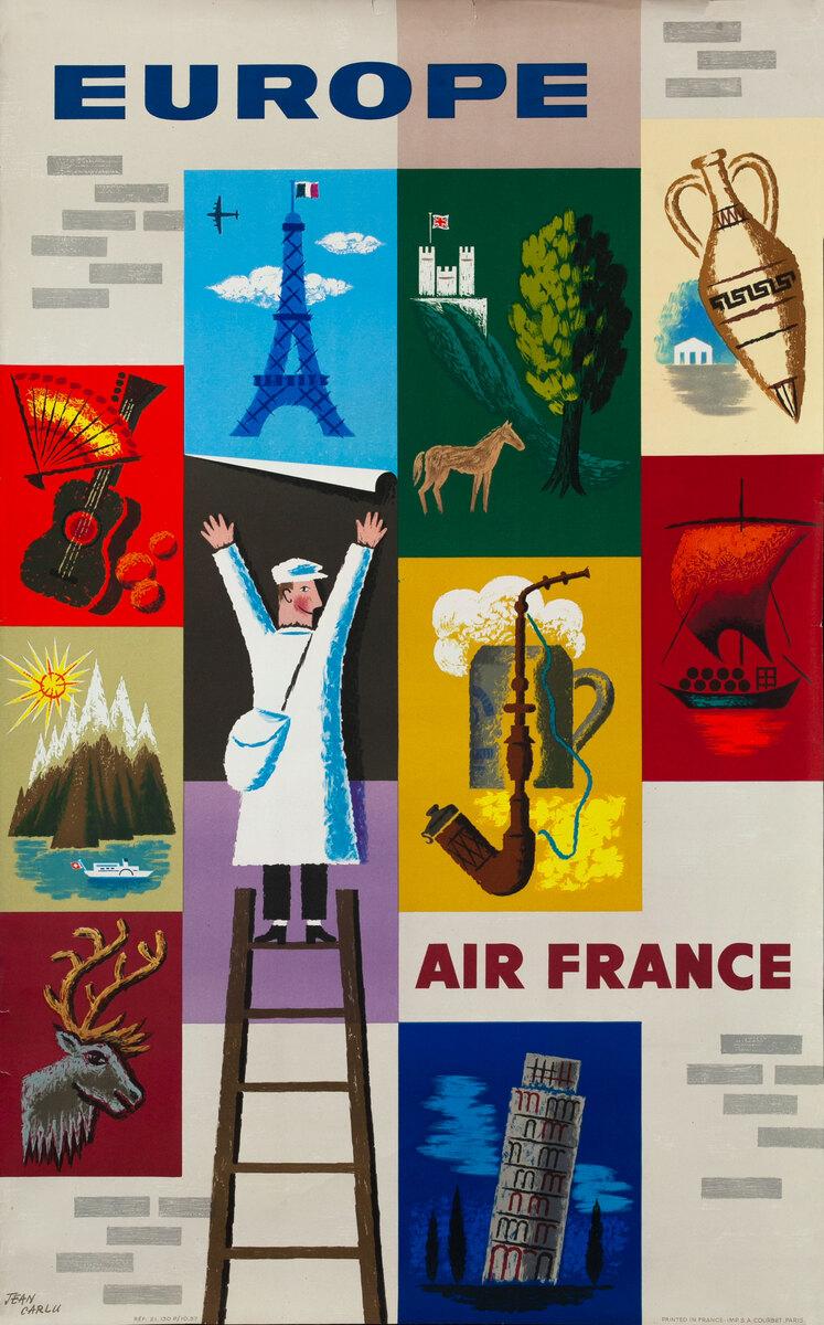 Air France Europe (Carlu) Original Vintage Travel Poster