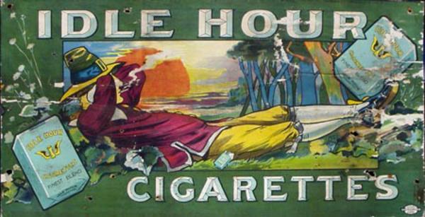 Idle Hour Cigarettes Original Vintage Advertising Poster