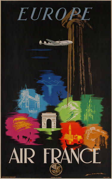 Air France Europe Original Travel Poster, Icons Black
