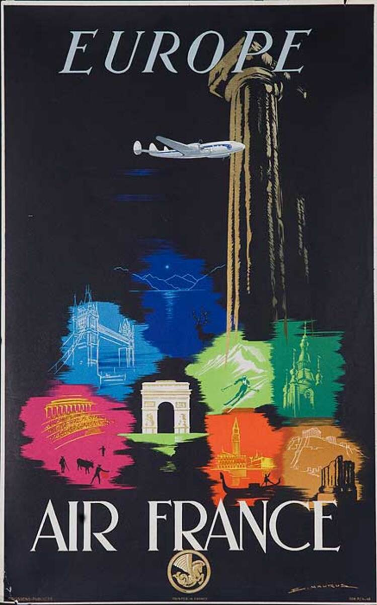 Air France Europe Icons Original Travel Poster small size, Maurus