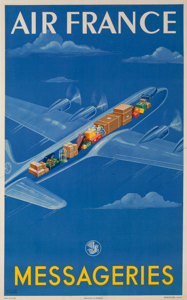 Messageries Air France Cargo Cutaway Plane Original French Advertising Poster