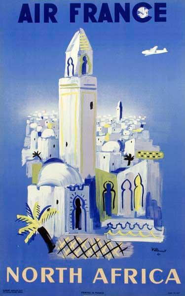 Air France North Africa Original Vintage Travel Poster