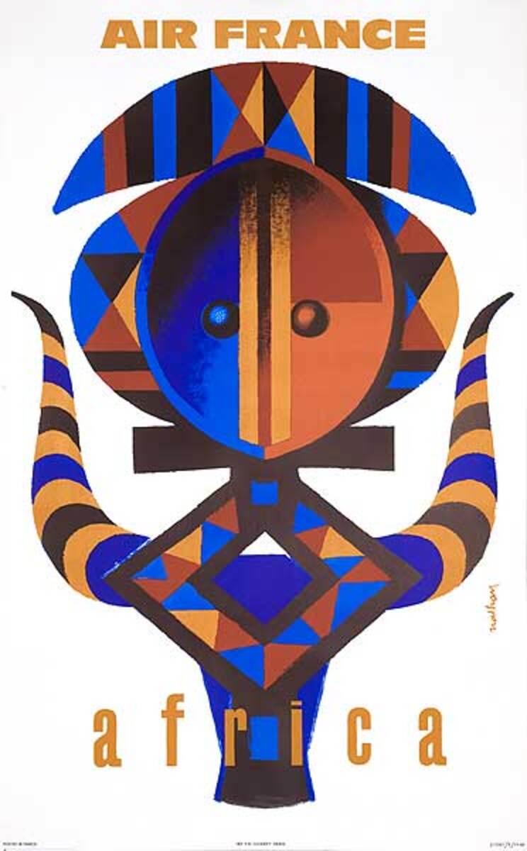 Air France Africa Original Travel Poster Nathan Mask